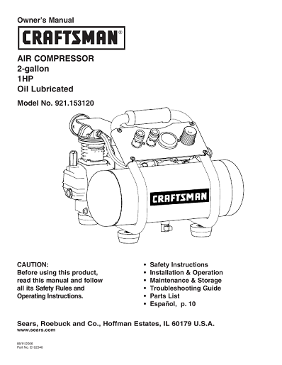 sullivan air compressor parts manual