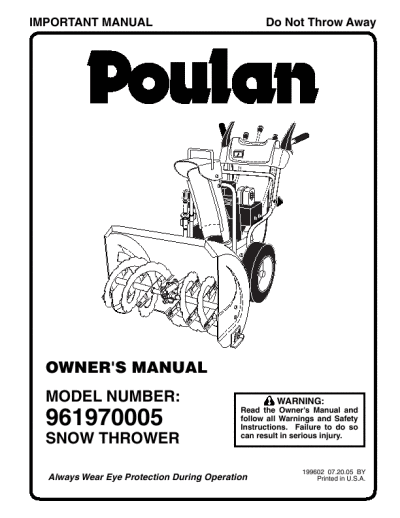 Poulan 961970005- Need An Owners Manual