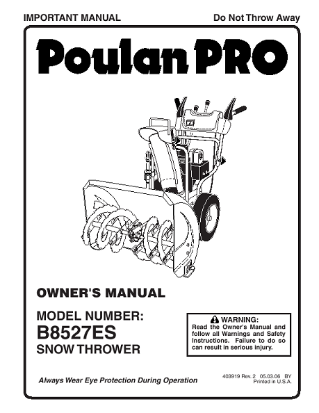 Poulan 961920009-B8527ES- Need An Owners Manual