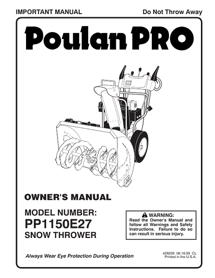 Poulan 96198003300-PP1150E27- Need An Owners Manual